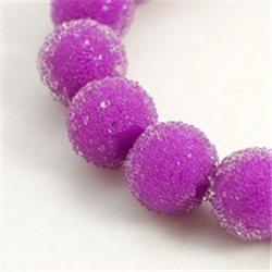 skleněný korálek průměr 12 mm,mix barev A fialová
