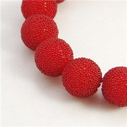 skleněný korálek průměr 12 mm,mix barev C Tm. červená