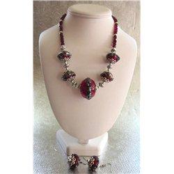 Set náhrdelník a náušnice z vinutých perlí A1080A