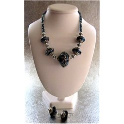 Set náhrdelník a náušnice z vinutých perlí A1080B