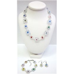 Set náhrdelník, náušnice a náramek z vinutých perlí A1085
