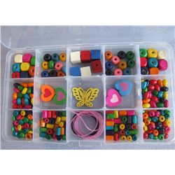 Kreativní krabička z dřevěných korálků W0003