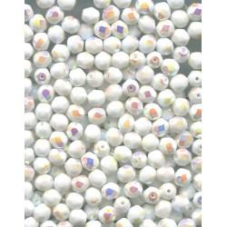 Korálky skleněné broušené  6 mm alabastr s dekorem