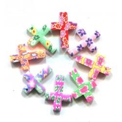 Korálek polymerový, křížek L3569