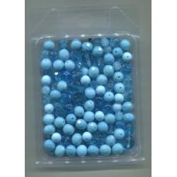 Mix korálků v krabičce L1111 tyrkysová