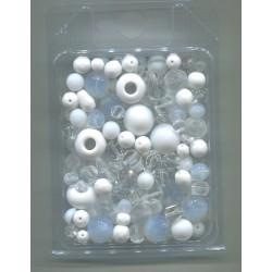 Mix korálků v krabičce L1111 bílá