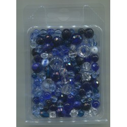 Mix korálků v krabičce L1111 modrá