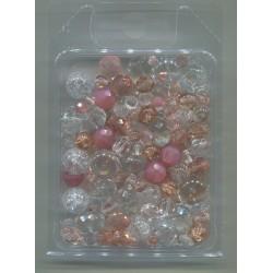 Mix korálků v krabičce L1111 růžová