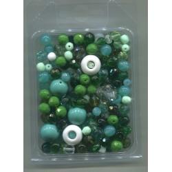 Mix korálků v krabičce L1111 zelená