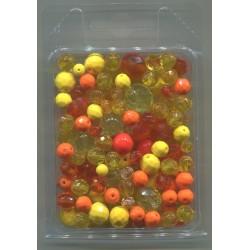 Mix korálků v krabičce L1111 žlutá
