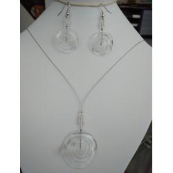 náhrdelník ze skleněných ohňovek , modrá AB, 45 cm
